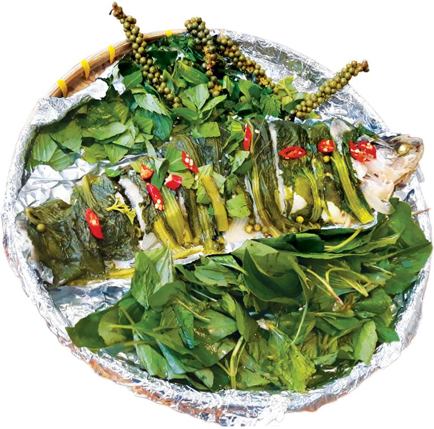 Cá thác lát rút xương (Kim sa) nướng cải